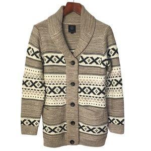 SANSARA Cream Beige Black Button Front Shawl Collar Long Knit Cardigan Sweater M